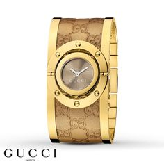 This stylish women's watch from the Gucci Twirl collection is both luxurious and playful from its wide Guccissima leather-covered bangle bracelet to its rotating brown sun-brushed dial set in gold-tone-PVD-coated stainless steel. A scratch-resistant sapphire crystal protects the Swiss-made quartz movement. This lovely timepiece is secured with a jewelry clasp. Please note: Guccissima leather is not water-resistant.