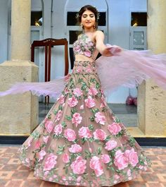 Floral Lehenga Inspirations for Every Bride-to-Be! Floral Lehenga, Bridal Lehenga Choli, Ghagra Choli, Floral Gown, Indian Gowns Dresses, Pakistani Dresses, Indian Wedding Outfits, Indian Outfits, Indian Designer Outfits