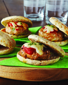 Italian Meatball Sliders Smothered in marinara sauce and oozing with with melted cheese, these meatball sliders are seriously indulgent snack food. your male guests will happily chomp away on these meaty bites - but only you'll know that they're less than 225 calories per serving!