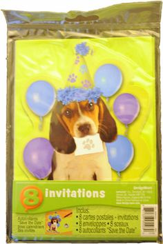Dog Party Invitations (8 per pack)  http://www.K9Cakery.com/?affid=63