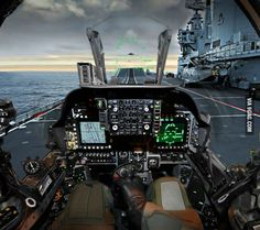 Pilot's view of the cockpit of a British Aerospace Harrier II of Royal Navy ready to take off from an aircraft carrier. Fighter Pilot, Fighter Aircraft, Fighter Jets, Military Jets, Military Aircraft, Military Force, British Aircraft Carrier, Hms Ark Royal, Cool Pictures