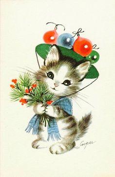 Vintage Christmas Card. Christmas Kitten.