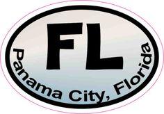 3in x 2in Oval Pastel FL Panama City Sticker Vinyl Florida Bumper Stickers