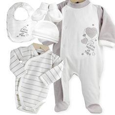 5-teiliges Neugeborenenset - Les KInousses #baby #neugeborene #neugeborenenset #jungen #maedchen #grau #weiss #samt #baumwolle #leskinousses
