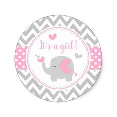 Cute Pink and Gray Elephant Birthday Party Classic Round Sticker - pink gifts style ideas cyo unique Baby Elephant Drawing, Baby Cartoon Drawing, Baby Shower Gender Reveal, Baby Boy Shower, Imprimibles Baby Shower, Baby Shower Cupcake Toppers, Elephant Birthday, Elephant Baby Showers, Baby Album