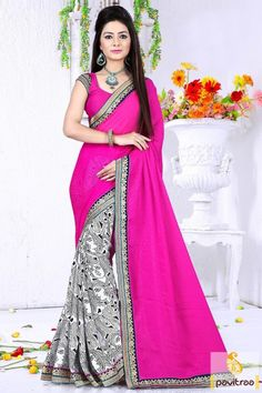Graceful white dark pink chiffon printed casual saree online collection which is overstated art print and lace border on saree with unstitched blouse. #saree, #sari, #casualsaree, #dailywerasaree, #formalsaree, #printedsaree, #officewearsaree, #pavitraafashion More : http://www.pavitraa.in/store/casual-saree/ Call / WhatsApp : +91-76982-34040  E-mail: info@pavitraa.in