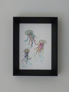 3 Colourful jelly fish sea glass art