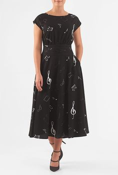 I <3 this Musical notes pleated empire crepe dress from eShakti