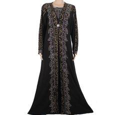 Middle East Dubai Kaftan Muslim Abaya Dress Lace Heavy Beading Design Maxi Robe Islamic Muslim Abaya Kaftan Dress 95FD1401 #Affiliate