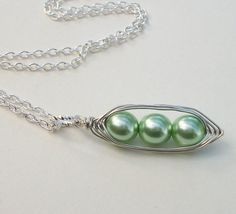 Mint Green Peas In A Pod Pendant Necklace in by Kikiburrabeads, $18.50