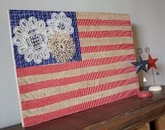 American Flag with Burlap and Doilies | AllFreeHolidayCrafts.com