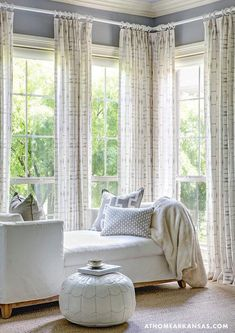 Slipcovered chaise lounge transitional bedroom at for Bay window chaise lounge