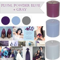 Plum, Powder Blue + Gray - I think you're leaning towards green but this could be prettyyyy