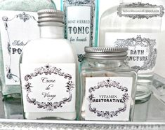 Vintage Printable Toiletry Labels from Be Book Bound.  Need to try printing these on clear contact paper.  Much cheaper than waterslide decals!