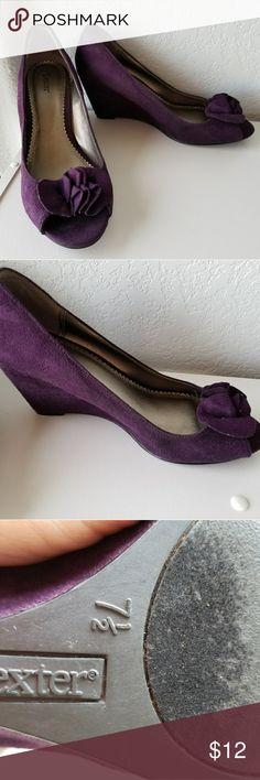 Purple floral wedges sz 7 1/2 BARELY WORN Sz 7 1/2 dark purple wedges.  Great for work! dexter Shoes Wedges