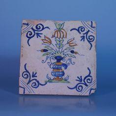 "A 17th century Dutch Delft Polychrome tile ""Flowerbasket"" | eBay"