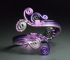 Spiral Burst Overlappling bracelet in Purple hues. $25.00, via Etsy.