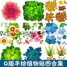 游戏美术素材/Q版手绘植物贴图合集 65...