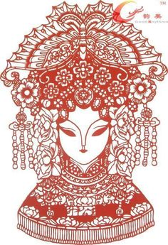 Peking Opera mask paper-cut-shengping Princess paper-cut artist jewelry-Chinese characteristic wall paintings series - www.9channel.com - TaoBaoProduct