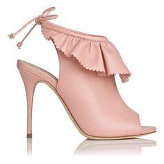 "L.K. Bennet Riley Leather Ruffle Detail Peep Toe Shoe Boot 4"" Heel in Pink Peony"