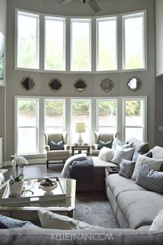 Living Room Windows... not a fan of the mirrors though, too much!