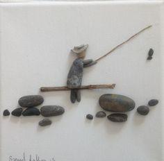 pebble picture by superflea Pebble Painting, Pebble Art, Stone Painting, Pebble Pictures, Stone Pictures, Stone Crafts, Rock Crafts, Pebble Stone, Stone Art