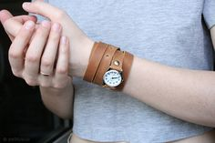 free shipping chestnut ginger leather bracelet wrap by petitJuJu