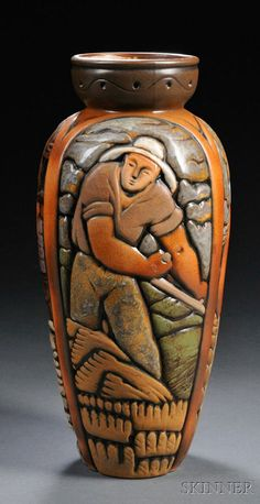 Large Art Deco ceramics vase by Mougin Bros, France