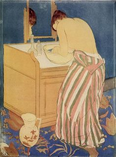 The Bath, 1891 by Mary Cassatt. Japonism. genre painting. Art Institute of Chicago, Chicago, IL, USA