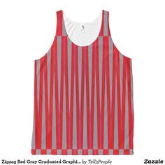 Zigzag Red Gray Graduated Graphic Pattern Yoga