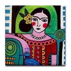 Mexican Folk Art Ceramic Tile - Frida Kahlo Peacock Art - Mexican Talavera Tiles Gift COASTER - Birthday Wedding Gifts Blue Pink Green