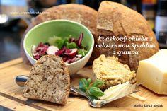 Kváskový chleba s celozrnnou špaldou a quinoa snadný a pro všechny - Koreni zivota Quinoa, Sourdough Bread, Dairy, Menu, Food, Menu Board Design, Essen, Yemek, Menu Cards