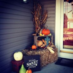 Fall Front Porch - love the crate and sign. I'd have to add plenty of mums around my porch too!