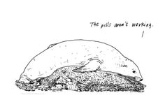 Artist Romeo Alaeff pins snippets of eavesdropped conversations on to amazing animal drawings. Cruel genius. From I'll be Dead By The Time You Read This: The Existential Life of Animals.