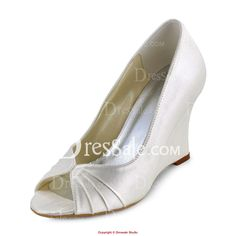 Fascinating Satin Upper Peep Toe Wedding Wedges with Ruches