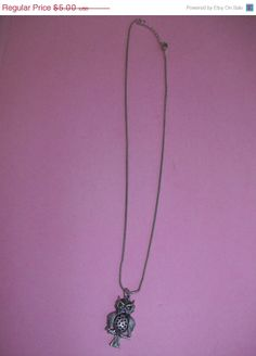 BLOWOUT SALE Silver Tone Owl Necklace by 5DollarMaddness on Etsy, $2.50