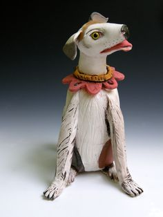 """Beagle at Rest, 13""""x5""""x7"""" clay dog, wheel thrown and altered, by artist Amy Goldstein-Rice."""