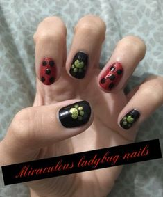 Miraculous Ladybug, Ladybug Nails, Text Pictures, Nail Arts, Nail Inspo, Fun Projects, Cute Nails, Nail Art Designs, Arts And Crafts