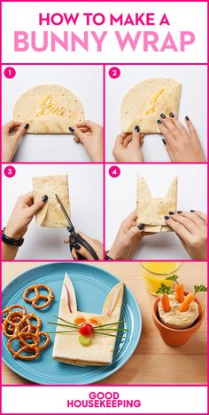 How to Make a Bunny-Shaped Wrap Pull this rabbit wrap out of your hat for a healthy lunchtime treat. For a super cute side, fill a paper cup with hummus and baby carrots (we used parsley sprigs for tops). Cute Snacks, Lunch Snacks, Cute Food, Good Food, Lunches, Lunch Box, Kid Snacks, Food Art For Kids, Cooking With Kids