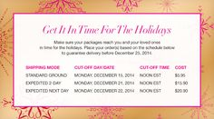 Holiday Shipping Table  https://lyndafischer.avonrepresentative.com/