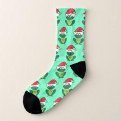 Cute Christmas Frogs Socks - holidays diy custom design cyo holiday family