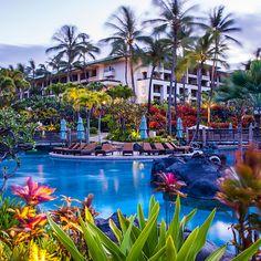Garden and pool at the Grand Hyatt Kauai