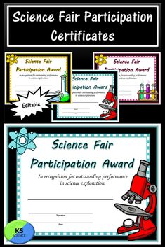 These certificates are a great addition to the science fair. They award participants for participating. Comes in three different colors and images.