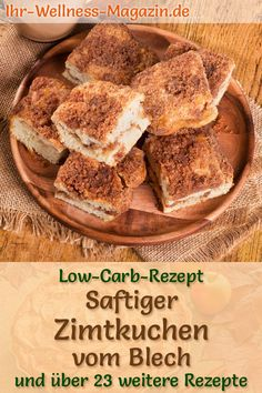 Saftiger Low-Carb-Zimtkuchen vom Blech – einfaches Rezept ohne Zucker Juicy, quick cinnamon cake from the tin: Healthy low-carb recipe for simple cake without sugar and cornmeal; Low in carbohydrates, low in calories and simply delicious … sponge cake # Healthy Low Carb Recipes, Low Carb Desserts, Low Carb Keto, Healthy Nutrition, Dessert Oreo, Fun Halloween Treats, Cinnamon Cake, Wine Recipes, Food And Drink