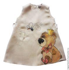 """Купить Льняное детское платье. """"Мохнатики"""" Ручная роспись. Размер 98 - серый, льняное платье"""