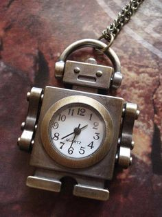 bc02a61a7f4d Necklace Pendant Robot Pocket Watch Gift Chain Collins - this looks like  something Sean should have.
