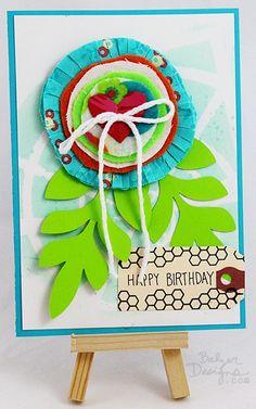 Balzer Designs Blog: Fabric Flower Card