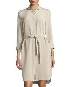 Lafayette 148 New York Agner Long-Sleeve Shirtdress, Khaki, Women's, Size: 14 Lafayette 148, Long Sleeve Shirt Dress, Last Call, Shirtdress, Quarter Sleeve, Dress Outfits, Dresses, Neiman Marcus, York