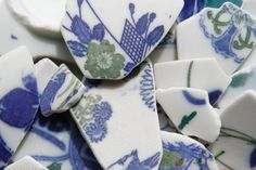 15 Japanese Blue White and Green Sea Pottery by ReverseGem on Etsy