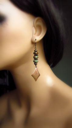 Green Opal Stone Copper Diamond Earrings by TheJewelryChateau,